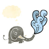 Retro cartoon elephant with thought bubble Royalty Free Stock Image