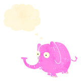 Retro cartoon elephant with thought bubble Stock Image