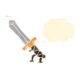 Retro cartoon enchanted sword Royalty Free Stock Photography