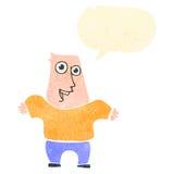Retro cartoon enthusiastic man. Retro cartoon with texture. Isolated on White Royalty Free Stock Images