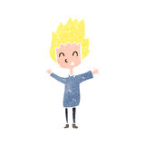 Retro cartoon excited blond boy Stock Photo