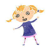 Retro cartoon excited blond girl Royalty Free Stock Image