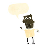 Retro cartoon excited man with speech bubble Stock Image