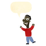 Retro cartoon excited man with speech bubble Stock Images