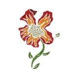 Retro cartoon exotic flower Royalty Free Stock Images