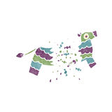 Retro cartoon exploding pinata Stock Images