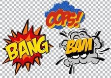 Retro cartoon explosion pop art comic set. Vector Royalty Free Stock Photo