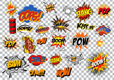 Retro cartoon explosion pop art comic set. Vector Royalty Free Stock Photography