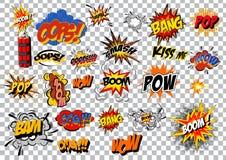 Retro cartoon explosion pop art comic set. Vector royalty free stock photography