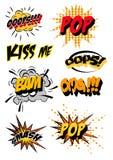 Retro cartoon explosion pop art comic set. Vector Stock Image