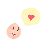 Retro cartoon face with love heart Royalty Free Stock Photography