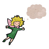 Retro cartoon fairy with thought bubble Royalty Free Stock Photo