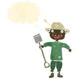retro cartoon farmer with shovel Royalty Free Stock Images