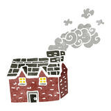 Retro cartoon farmhouse with smoking chimney Stock Photos