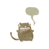 Retro cartoon fat cat with speech bubble Royalty Free Stock Photo
