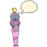 retro cartoon female astronaut Stock Photos