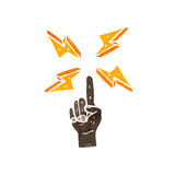 Retro cartoon finger pointing. Retro cartoon with texture. Isolated on White Stock Images