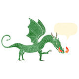Retro cartoon fire breathing dragon Stock Image
