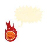 Retro cartoon fireball. Retro cartoon with texture. Isolated on White Stock Images