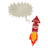Retro cartoon firework with speech bubble Royalty Free Stock Images