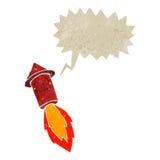Retro cartoon firework with speech bubble Royalty Free Stock Photography
