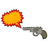 Retro cartoon firing pistol. Retro cartoon with texture. Isolated on White Stock Image