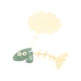 Retro cartoon fish bones. Retro cartoon with texture. Isolated on White Stock Image