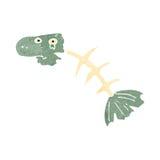 Retro cartoon fish bones. Retro cartoon illustration. On plain white background Royalty Free Stock Images