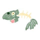 Retro cartoon fish bones. Retro cartoon illustration. On plain white background Royalty Free Stock Image