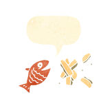 Retro cartoon fish and chips Stock Images