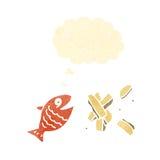Retro cartoon fish and chips Royalty Free Stock Image