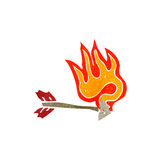Retro cartoon flaming arrow Stock Photos