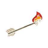 Retro cartoon flaming arrow Stock Photography