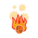 Retro cartoon flaming basketball Royalty Free Stock Image
