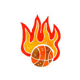 Retro cartoon flaming basketball Stock Image