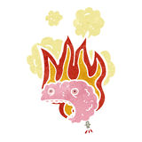 Retro cartoon flaming brain Stock Photos