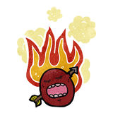 Retro cartoon flaming emotion face Royalty Free Stock Images