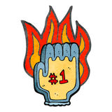 Retro cartoon flaming foam sports hand Royalty Free Stock Image