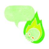 Retro cartoon flaming green skull Royalty Free Stock Photo