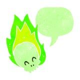 Retro cartoon flaming green skull Stock Photos