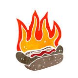 retro cartoon flaming hotdog Stock Photography