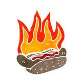 retro cartoon flaming hotdog Stock Photography