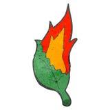 Retro cartoon flaming leaf Stock Photo