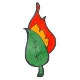 Retro cartoon flaming leaf Stock Photography