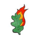 Retro cartoon flaming leaf Royalty Free Stock Photography