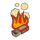Retro cartoon flaming match box Stock Photo