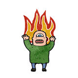 Retro cartoon flaming ogre Royalty Free Stock Images