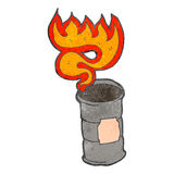 Retro cartoon flaming oil drum Stock Image