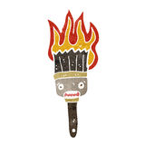 Retro cartoon flaming paint brush Royalty Free Stock Photos