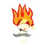 retro cartoon flaming pirate skull Royalty Free Stock Image